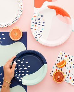 Planning a fall party? Add these Brit + Co for Cheeky products to your must-have list! Pottery Painting Designs, Pottery Designs, Paint Designs, Diy Clay, Clay Crafts, Clay Projects, Ceramic Painting, Ceramic Art, Disposable Tableware