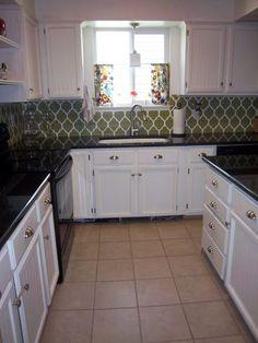 Stenciled backsplash 25 + Great Kitchen Backsplashes at Remodelaholic