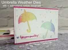 Sarah-Jane Rae cardsandacuppa: Stampin' Up! UK Order Online 24/7: Umbrella Weather Dies with a Watercoloured Rainbow Background