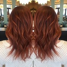 Red base with rich copper balayage highlights❤️ Love my hair