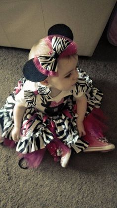 Tracy-Maree in 1st Birthday Zebra Outfit LR Designs Tutu Boutique October 2014