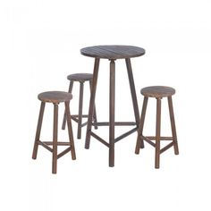Accent Plus Fir Wood Bar Table And Stools Set