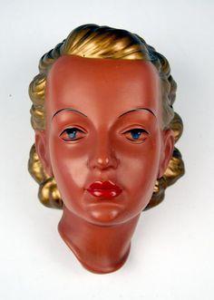 GOLDSCHEIDER WANDMASKE CARSTENS DAME  LADY PRISCHL WALL MASK MNR: 530 UM 1953