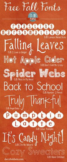 Is Autumn your favorite time of the year? These DJB Fonts will help you bring the feel of fall onto your scrapbook pages, teacher created materials and every other way you love using fonts! Free for personal use fonts from http://DJBFont.com (commercial licensing available).