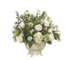 Rose, Queen Anne Lace, Hydrangea (WF741): Queen Anne Lace Rose, White Green, Resin Bowl, 32wx32dx30h