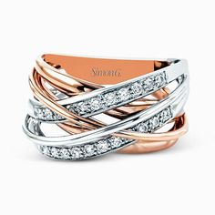 Two-tone rose gold and diamond fashion ring - Simon G's Fabled Collection