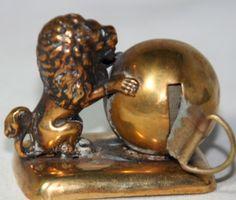 Original Antique c1890 Lion Resting on Globe Tape Measure RARE Brass Piece   eBay
