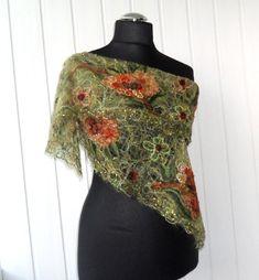 Green handmade openwork shawl for women. orange by crazywoolLT