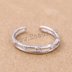 925 Sterling Silver Tail Finger Ring, platinum plated, open & micro pave cubic zirconia, 3mm, US Ring Size:3, 10PCs/Lot,china wholesale jewelry beads