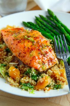 Apricot Dijon Glazed Salmon ~ Salmon baked in an apricot dijon glaze with ginger and lime.