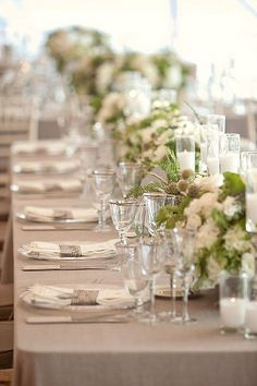Cream and Taupe Wedding Inspiration and Ideas - taupe wedding table cloth