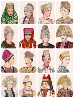 Russian Headdress. Drawings by N. Vinogradova. Complete Set of 16 Vintage Prints, Postcards in original cover -- 1971