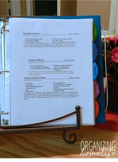 Recipe Binder Organization