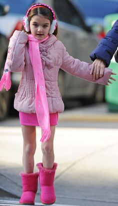 looking good always ;) | In the pink: Despite the cold weather Suri was missing a pair of pink wooly tights