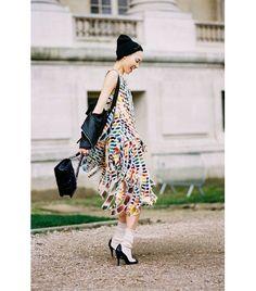 @Who What Wear - Get The Look: Jil Sander Fractured-Print Cotton Dress ($2181)  Image via Vanessa Jackman