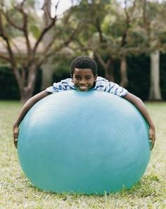 """Large, inflatable exercise balls are versatile objects well-suited for children bored with routine exercise. According to """"Having a Ball: Stability Ball Games"""" by John Bly, Ph., rather than teaching children adult exercises on the exercise or stability Yoga For Kids, Exercise For Kids, Motor Activities, Activities For Kids, Stability Ball Exercises, Core Stability, Zumba Kids, Baby Yoga, Exercise Balls"""