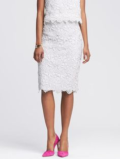 Scalloped White Lace Pencil Skirt