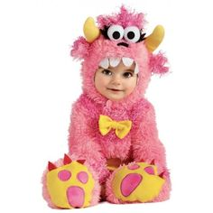 Baby-Monster-Costume-Fuzzy-Furry-Pink-Halloween-Fancy-Dress