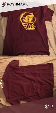 """Central Michigan University T-Shirt A maroon shirt with a """" put your stamp on the world """" saying with the CMU logo. Only worn once ( too small on me ) Gildan Tops Tees - Short Sleeve"""