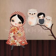 Emily and her owls by Schmooks by schmooks on Etsy, $25.00