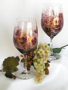 Painted CRYSTAL Glassware Wine Glasses by HandPaintedPetals, $77.00