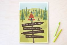 Woodland Campout Children's Birthday Party Invitations by Grace Kreinbrink at minted.com