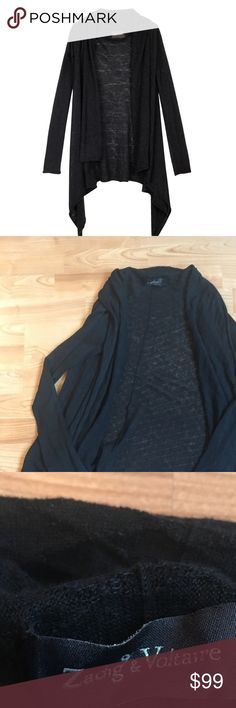 Zadig & and Voltaire Linen Black Cardigan Top U S This is a beautiful Zadig & Voltaire sweater in size U (small), in gently preowned condition has a small pinhole by the shoulder that has been repaired, very similar to stock photo but not the exact same Zadig & Voltaire Sweaters
