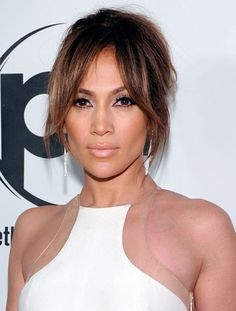 Pin for Later: Trendy Bangs For All Face Shapes and Hair Textures Jennifer Lopez Part face-framing layers and part long bangs, Jennifer Lopez& fringe is another great option for those on the fence with their hair. Hairstyles With Bangs, Pretty Hairstyles, Long Fringe Hairstyles, Updo Hairstyle, Formal Hairstyles, Wedding Hairstyles, Face Framing Bangs, Face Framing Layers, Parted Bangs