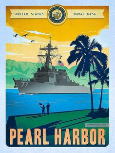 Island of Oahu, Hawaii Pearl Harbor, Vintage Travel Posters, Vintage Postcards, Party Vintage, Hawaiian Art, National Park Posters, Vintage Hawaii, Poster Ads, Pictures To Paint