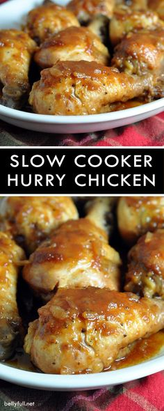Slow Cooker Hurry Chicken - a sweet and tangy, super easy, and inexpensive crock pot chicken dish made with pantry staples! Slow Cooker Hurry Chicken is a sweet and tangy, super easy, and inexpensive crock pot chicken dish made with pantry staples! Slow Cooker Huhn, Crock Pot Slow Cooker, Slow Cooker Recipes, Cooking Recipes, Drink Recipes, Slow Cooking, Cooking Games, Chicken Leg Slow Cooker, Chicken Drumsticks Slow Cooker