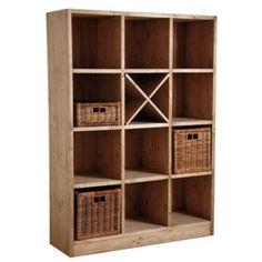Bibliothèque 12 cases en épicéa ciré miel AUBRY GASPARD - Bibliothèque