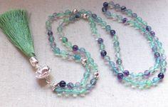 FLUO GURU, mala necklace with fluorite, 108 mala necklace, Mala Necklace, Mala Bead, Buddhist Jewelry, Prayer Beads, Tassel Necklace by TheBlueLarkBoutique on Etsy