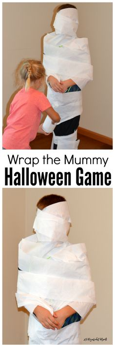 Kids will be giggling and shrieking with laughter as they play this wrap the mummy halloween game. It's an easy game to set up and play during school classroom parties.
