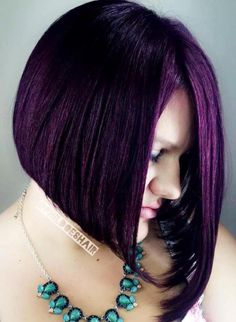 Asymmetrical Haircut with Jagged Layers This stunning layered look is a nice asymmetrical solution for long hair. It focuses not on asymmetrical bangs but on different lengths of long strands and choppy texture of the cut. Purple Bob, Purple Hair, Long Bob Hairstyles, Hairstyles With Bangs, Fringe Hairstyles, Short Hair With Bangs, Short Hair Cuts, Lob Haircut Straight, Colorful Hair