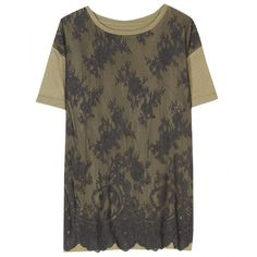 McQ Alexander McQueen T-Shirt With Lace Overlay ($191) ❤ liked on Polyvore