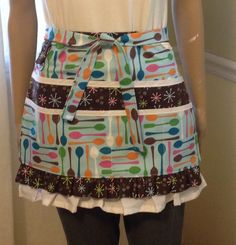Waitress Half Apron with Multi Colored Spoons, Brown and Blue Multi Purpose Apron  PancakesOnSunday ETSY - $32