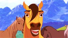 #Spirit (gif) I love this part, it's so cute! And his mother is a beautiful animated mare, heh.