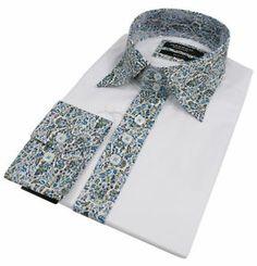Mens Italian Design Paisley Collar White Shirt Slim Fit Smart or Casual 100% Cot | eBay