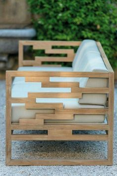 Mueble de jardin - Funky arm detail on teak outdoor sofa