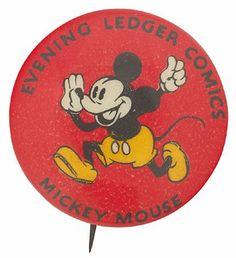 Evening Ledger Comics - Mickey Mouse pinback