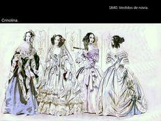 1840 , VESTIDOS DE NOVIA , ESCOTE QUE PERMITE VER LOS HOMBROS , FALDAS MAS ACAMPANADAS , SE VEN LAS FALDAS QUE VAN ABAJO , USO DE MIRIÑAQUE .