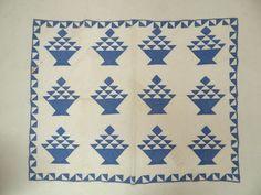 ANTIQUE CHILD BASKET PATTERN QUILT  19-20TH CENTURY HAND MADE.   EBAY   SOLD    123.00