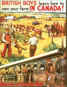 Back in the day, Canada needed more people to build up its country and, in particular, in its vast western inland plains. With lots of land and not so many people, the federal and provincial govern… Canadian Beer, Canadian Culture, Canadian Things, Canadian History, Vintage Travel Posters, Vintage Ads, Farming In Canada, Canadian Prairies, British Boys
