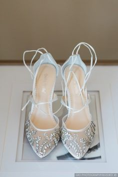White mesh jeweled crystal wedding lace up bridal heels  {GIO PHOTOGRAPHY&VIDEO}