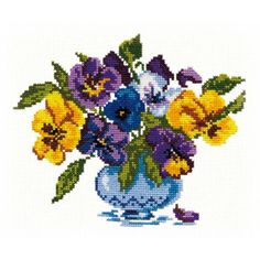 Cross stitch kit Pansy - Chudo Igla (Magic Needle) > Chudo Igla (Magic Needle) > Cross stitch kits > The Stitch Company Mill Hill Beads, Embroidery Fabric, Metallic Thread, Cross Stitch Kits, Water Lilies, Pansies, Cross Stitching, Pixie, Tapestry