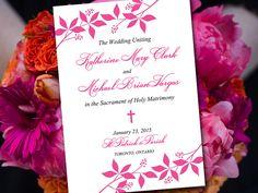 "Catholic Wedding Program Template - Printable Fold Over Ceremony Program ""Enchanted"" Petal Order of Ceremony - Printable Program Download by PaintTheDayDesigns on Etsy"