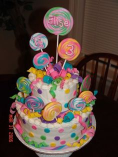 lollipop cake and ribbons are made of fondant Food Picture - Food Picture Lollipop Birthday, Lollipop Cake, Lollipop Party, Birthday Cake, Torta Candy, Candy Cakes, Candy Theme Cake, Pretty Cakes, Beautiful Cakes