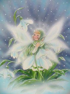 Snowdrop Fairy/ Mutig und tapfer steht das kleine Schneeglöckchen im Schnee und Eis...  Christl Vogl