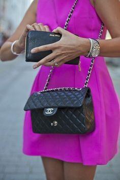 Chanel Street style - black handbag with hot pink dress