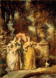 """""""Drei Frauen in einem Park"""" (1852) von Louis Gabriel Eugène Isabey (geboren am 22. Juli 1803 in Paris, gestorben am 27. April 1886 in Montévrain, Seine-et-Marne), französischer Maler."""